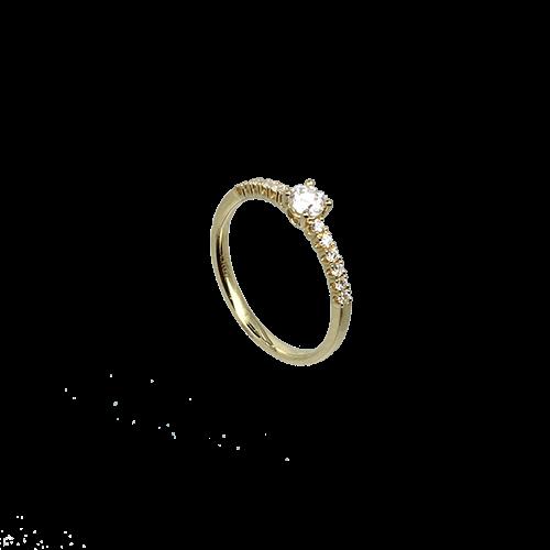 טבעת אירוסין זהב צהוב 14K יהלום מרכזי ויהלומים קטנים MY09160195210