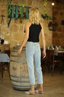 ג'ינס גבוה ישר דנזל סיומת תפר