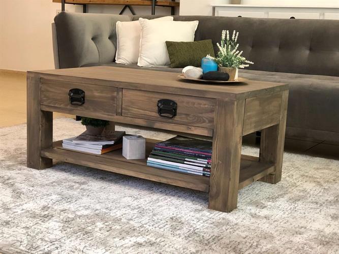 שולחן סלון מעץ מלא כולל 2 מגירות
