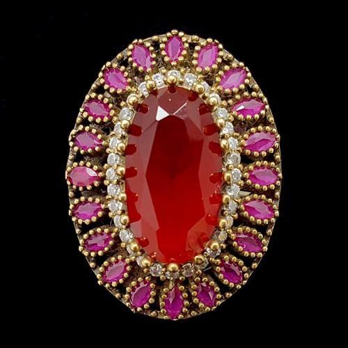 טבעת מכסף משובצת רובי קוורץ ואבני זרקון לבנות  RG5679 | תכשיטי כסף 925 | טבעות כסף
