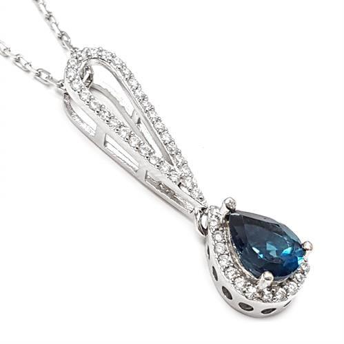 תליון כסף משובץ אבן טופז כחולה וזרקונים T5907 | תכשיטי כסף