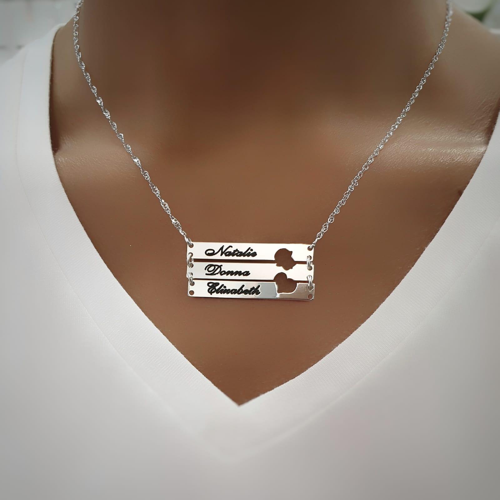 שרשרת פלטות עם לב או חמסה חלולים וחריטה אישית- כסף 925/ גולדפילד