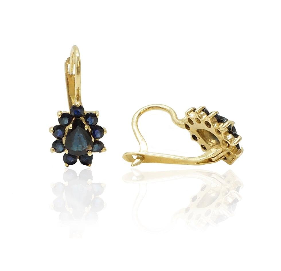 עגילי זהב נופלים מרשימים עם אבן חן ספיר