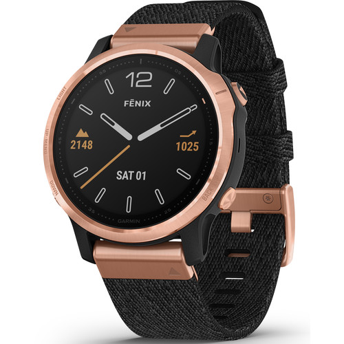 שעון דופק Garmin Fenix 6s Sapphire Rose Gold-tone with Heathered Black Nylon Band