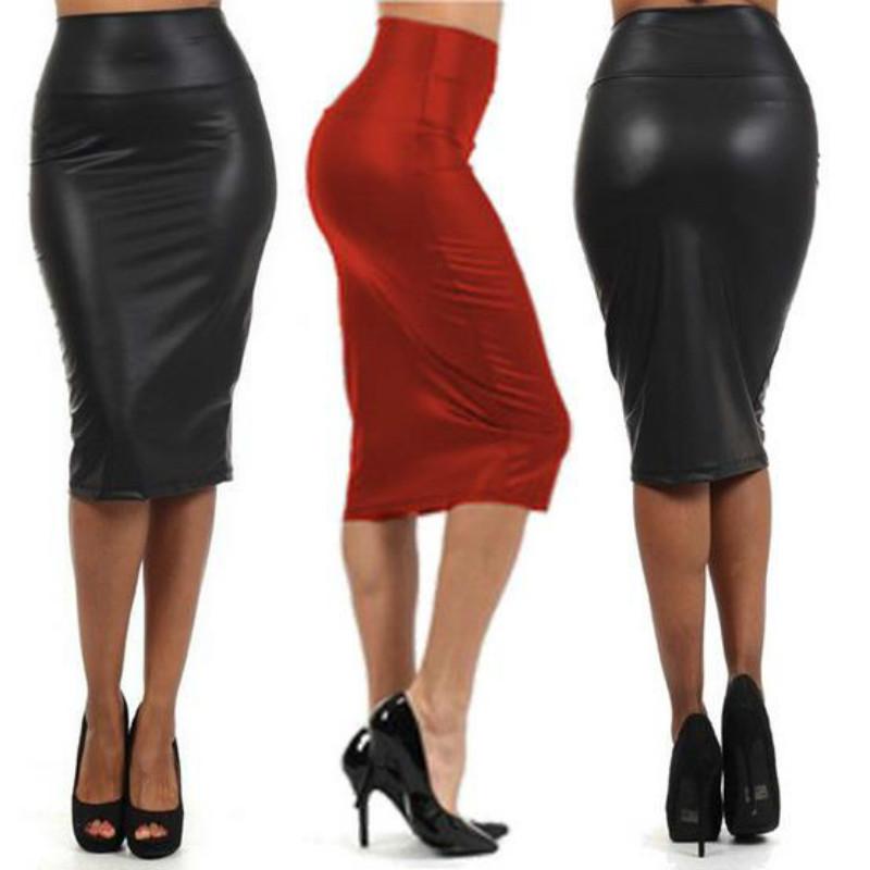 חצאית גזרה גבוהה מחטבת ומעוצבת דמוי עור
