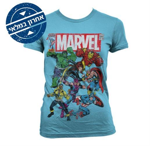 Marvel Team Up גזרת נשים - תכלת