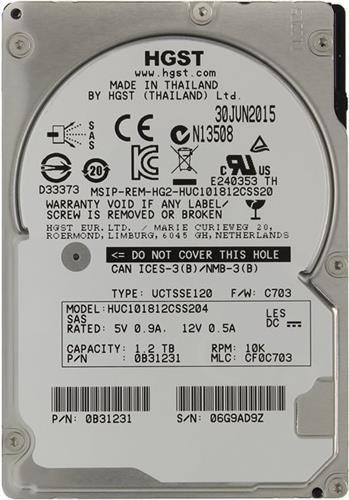 דיסק קשיח לשרת Hitachi HGST Ultrastar C10K1800 1.2TB (HUC101812CSS204 / 0B31849) SAS 10K