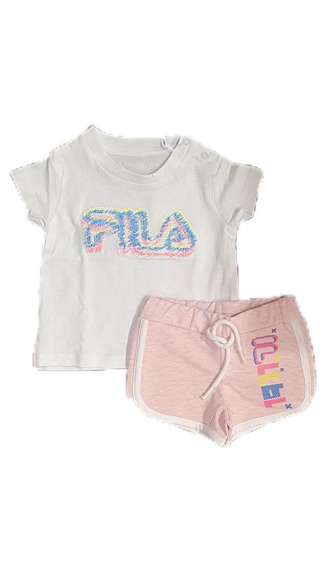 חליפת תינוקות בנות לבן ורוד FILA