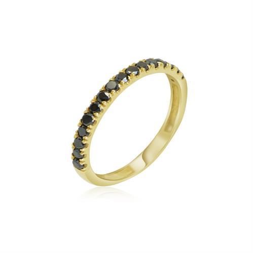 טבעת יהלומים שחורים │ טבעת חמש יהלומים │ טבעת זהב משובצת יהלומים 0.55 קראט