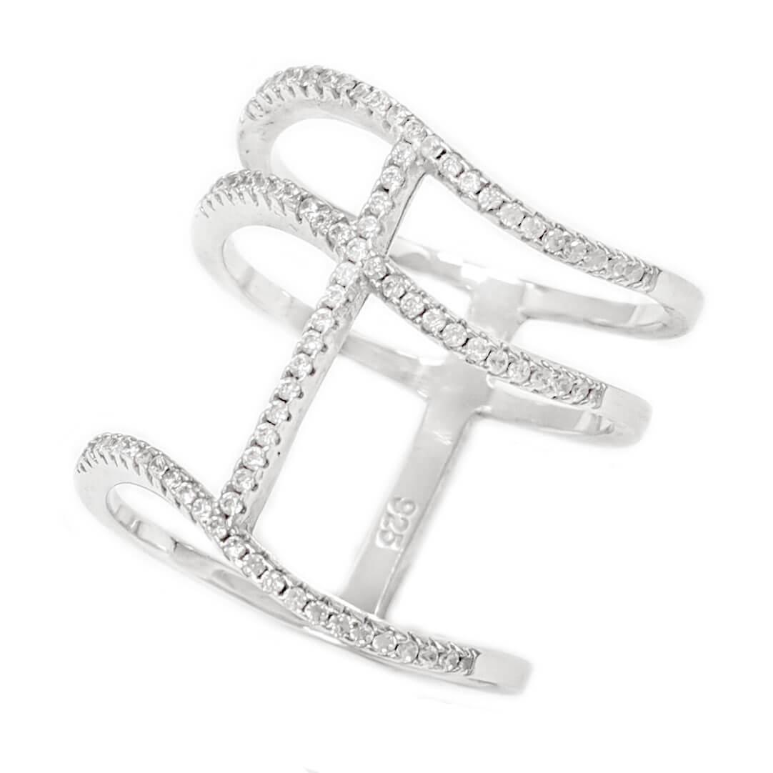 טבעת רחבה מכסף משובצת אבני זרקון  RG6086 | תכשיטי כסף | טבעות כסף