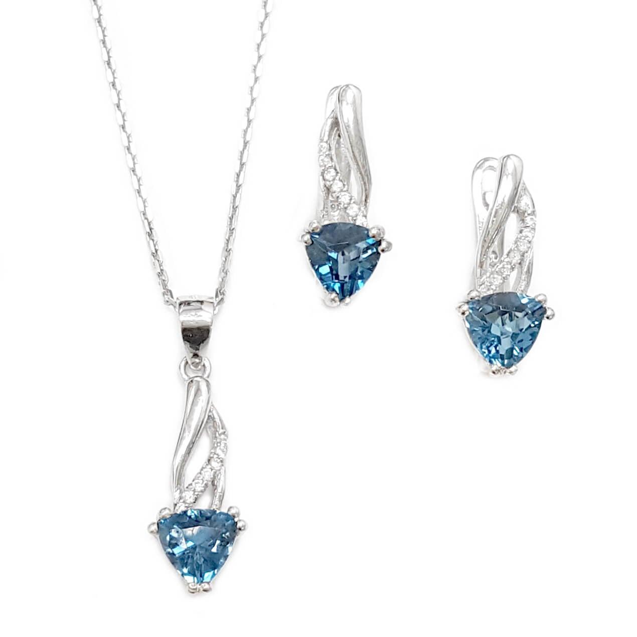 עגילים ותליון מכסף משובצים אבני טופז כחולות וזרקונים S1571
