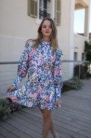 שמלה קצרה נועה פרחים כחול
