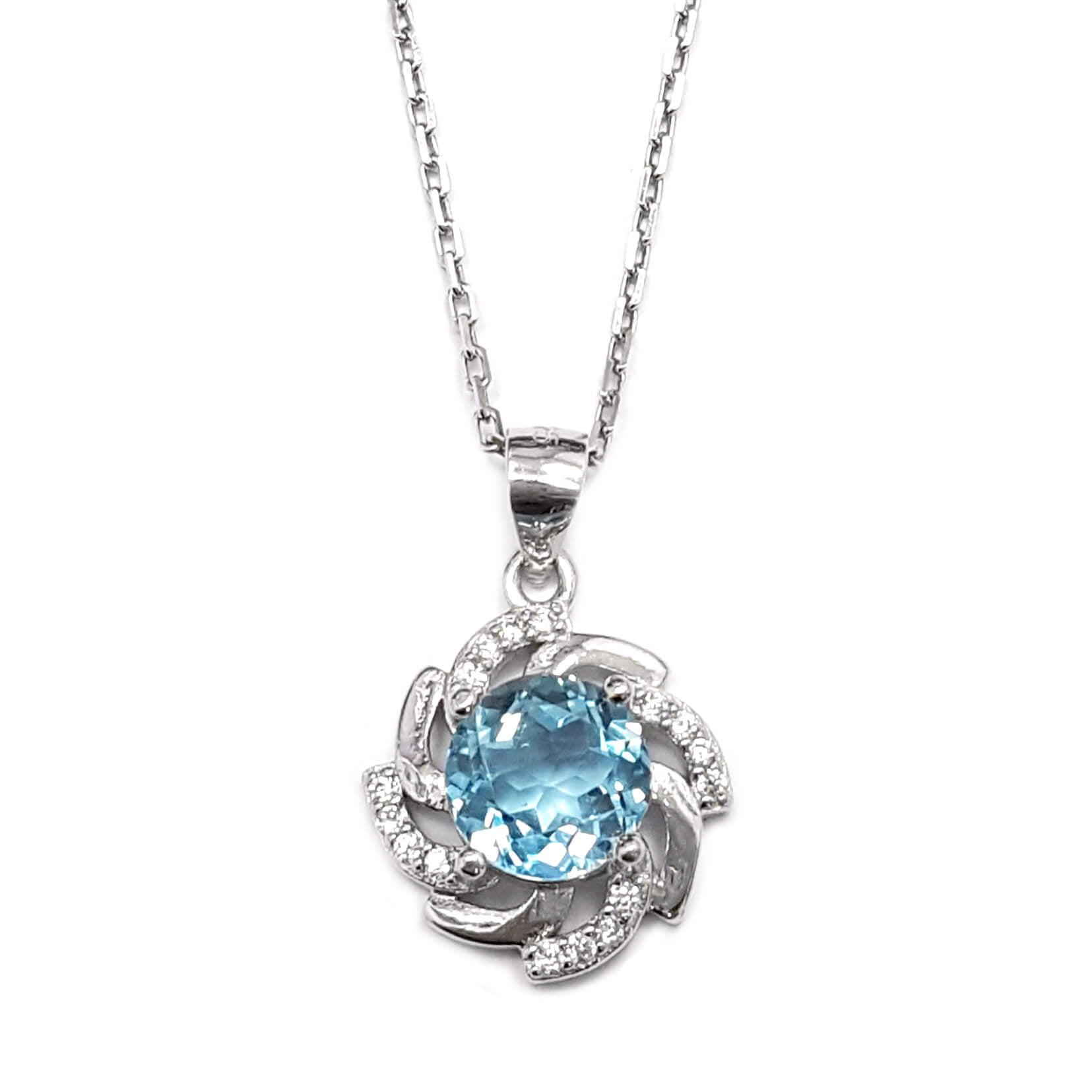 שרשרת כסף ותליון משובץ אבן טופז כחולה וזרקונים T5876 | תכשיטי כסף