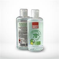 10 יחידות של גל לחיטוי ידיים - סנו מדיק - SANO MEDIC בתוספת אלוורה 70% אלכוהול - 100 מל