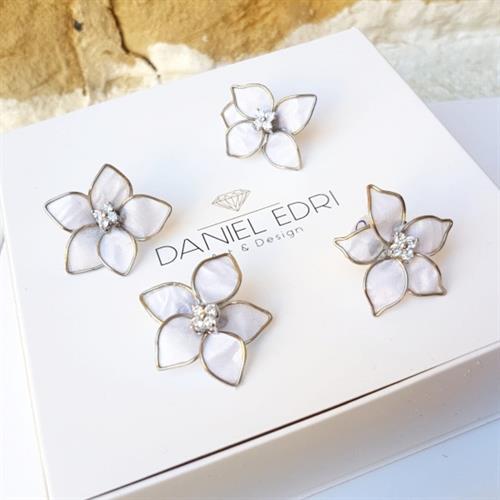 4 סיכות פרחים לשיער 5 עלים - לבן סברובסקי