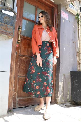 חצאית מעטפת פרח כתמתם-ירוק