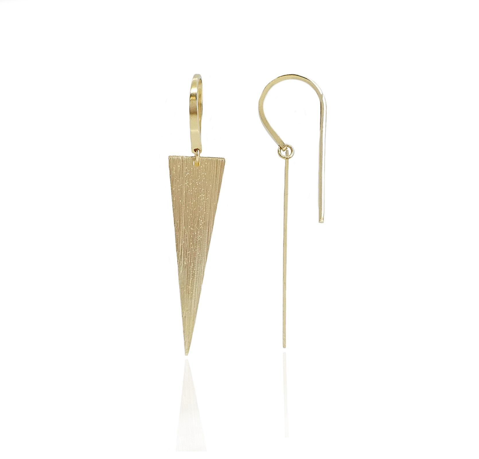 עגילי זהב משולש נופלים מיוחדים