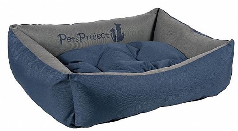 מיטה לכלב מבד דוחה נוזלים ופרווה בצבע כחול אפור במגוון מידות