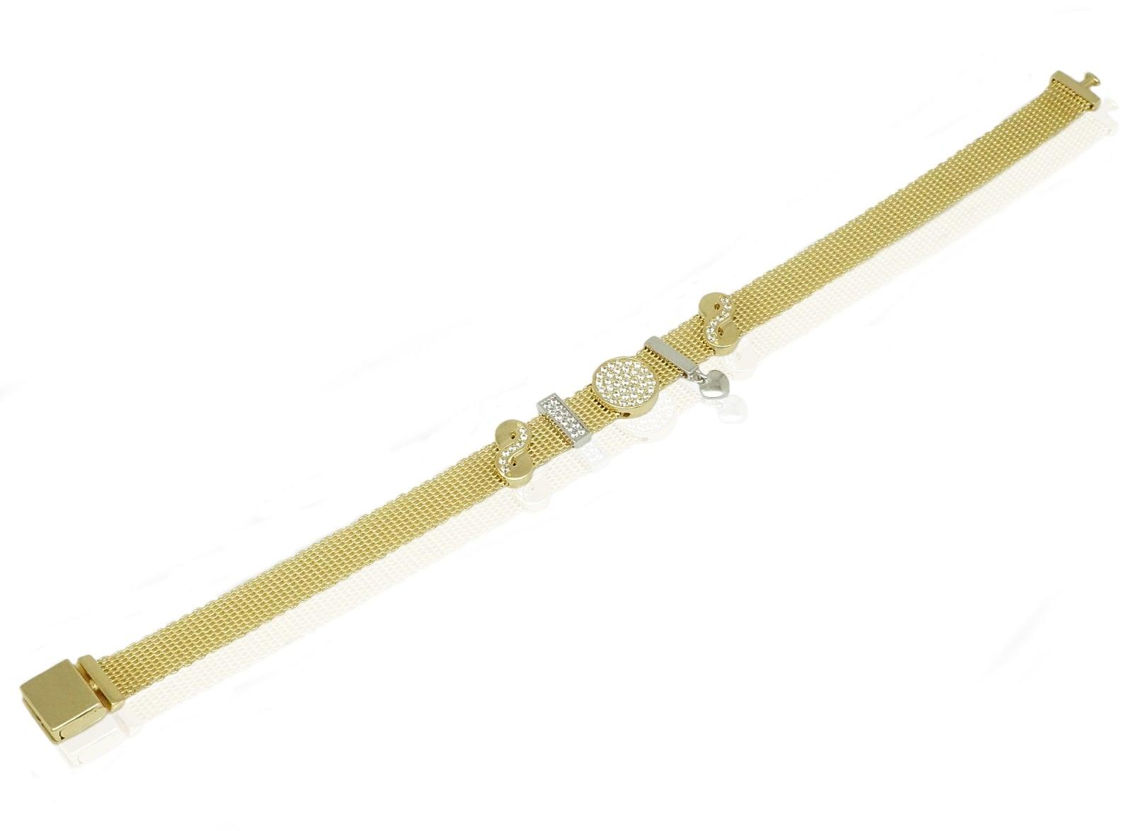 צמיד זהב עם צארמס \ תליונים זרקונים תלויים