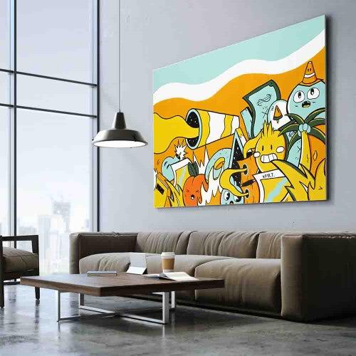 ציור קנבס צבעוני גדול בסגנון פופ ארט לסלון של האמן כפיר תג'ר