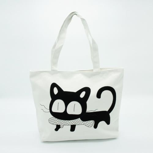 תיק בד לבן חתול תופס דג