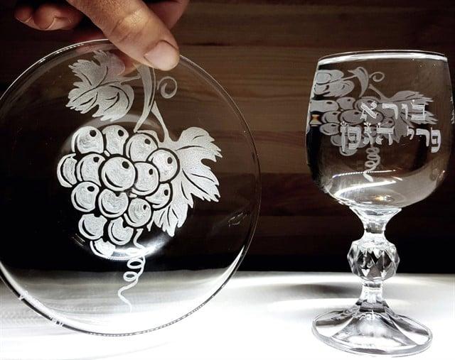 סט קידוש קריסטל ענבים