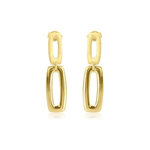 """עגילי חישוקי זהב מלבניים נופלים 2.8 ס""""מ"""