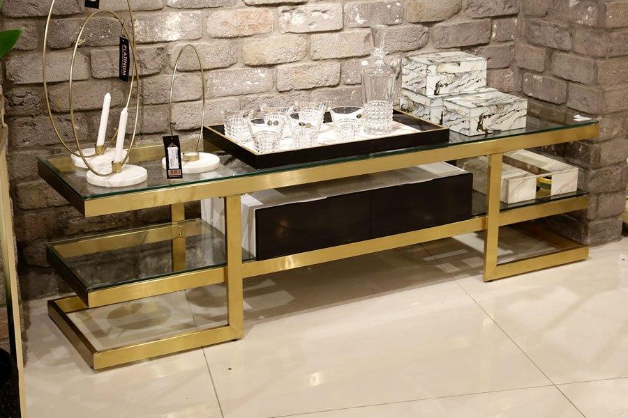 מעמד טלוויזיה נירוסטה ADAGIO מגיע בצבע: נירוסטה / זהב מידות: 160X40X45