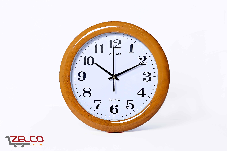 שעון קיר דמוי עץ עגול אלמון זהוב