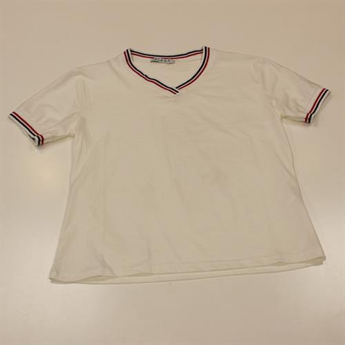 חולצה V סרט לבן
