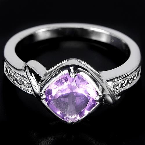 טבעת כסף משובצת אמטיסט סגול וזרקונים RG2283 | תכשיטי כסף 925 | טבעות כסף