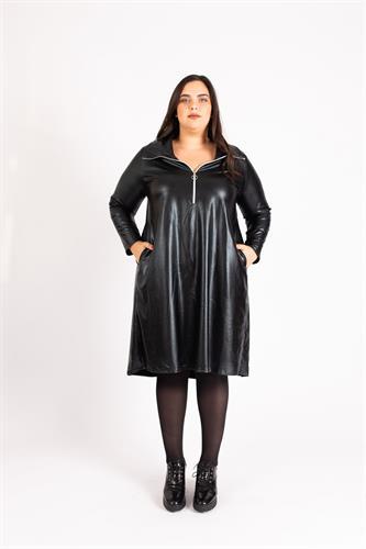שמלת פריז דמוי עור