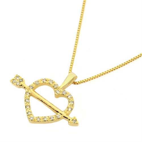 שרשרת ותליון זהב חץ בלב בזרקונים