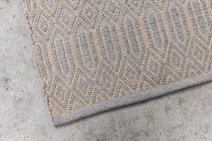 שטיח כותנה מעויינים מלבן - אבן ואפור