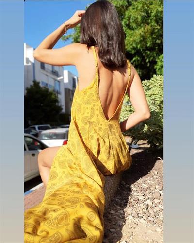 שמלת ליאל - פרינט חרדלי