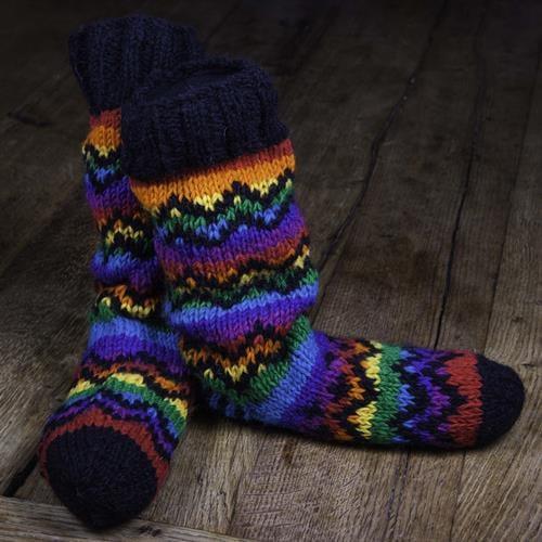 גרבי נעלי בית לילדים ארוך  קשת עם שחור 30-36