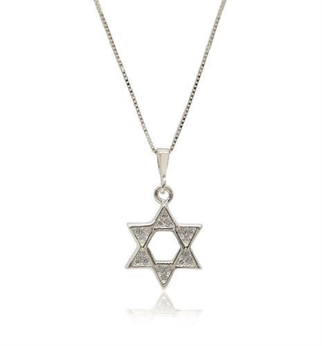 שרשרת ותליון זהב 14 קרט מגן דוד משובץ יהלומים 0.10 קראט