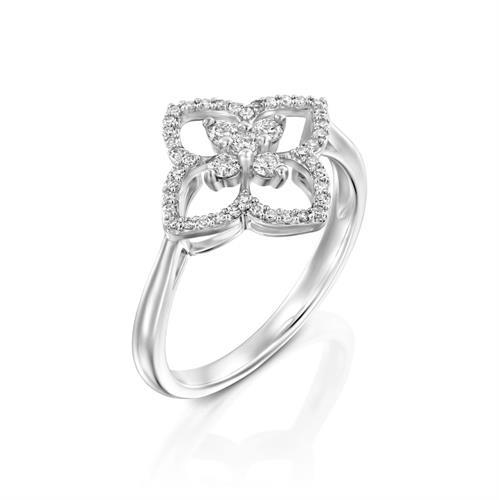 טבעת להבות התשוקה משובצת יהלומים בזהב לבן או צהוב 14 קראט