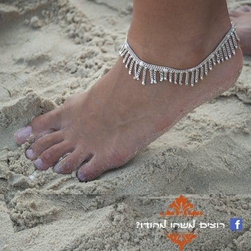 צמיד רגל הודי כסוף קווים