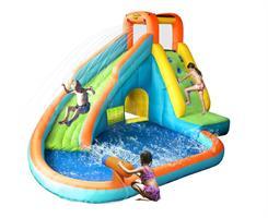 מתקן קפיצה ומים מגלשת מים בריכה ותותח הפי הופ - 9117 - Water Slide With Pool Happy Hop  + סולם טיפוס