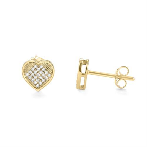 עגילי לב זהב צהוב 14 קראט משובצים יהלומים