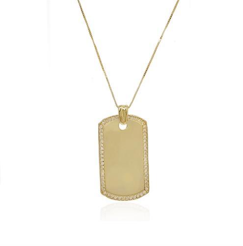 שרשרת זהב דיסקית לגבר עם זרקונים ואפשרות לחריטה