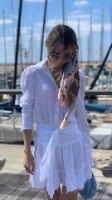 חולצת צווארון שרוול פאף לבנה