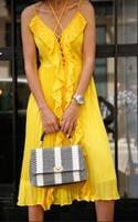 שמלת שיין צהוב/שחור