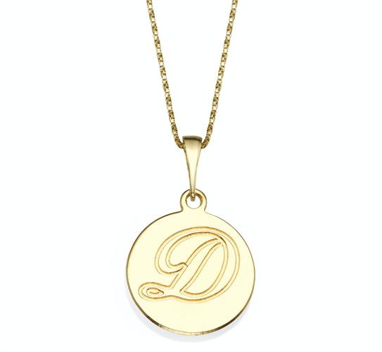 שרשרת זהב 14K תליון עגול עם חריטת אות אחת