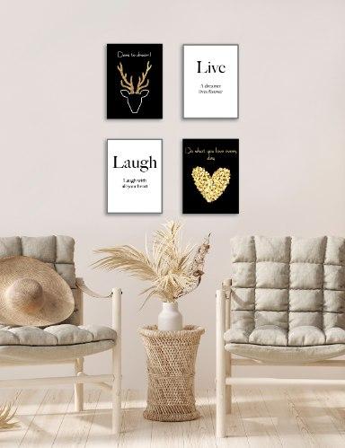 רביעיית תמונות תחיו, תצחקו, אייל עם קרניים בזהב ולב זהב עם רקע שחור דגם 12