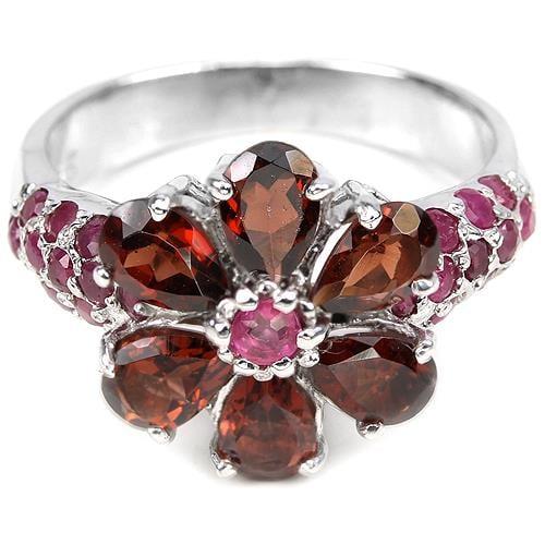 טבעת כסף משובצת גרנט אדום ורובי אדום RG2701 | תכשיטי כסף