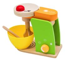 SPTY0819MIX - מיקסר לעוגות מעץ כולל קערה ומרית למטבח לילדים, קפיץ קפוץ