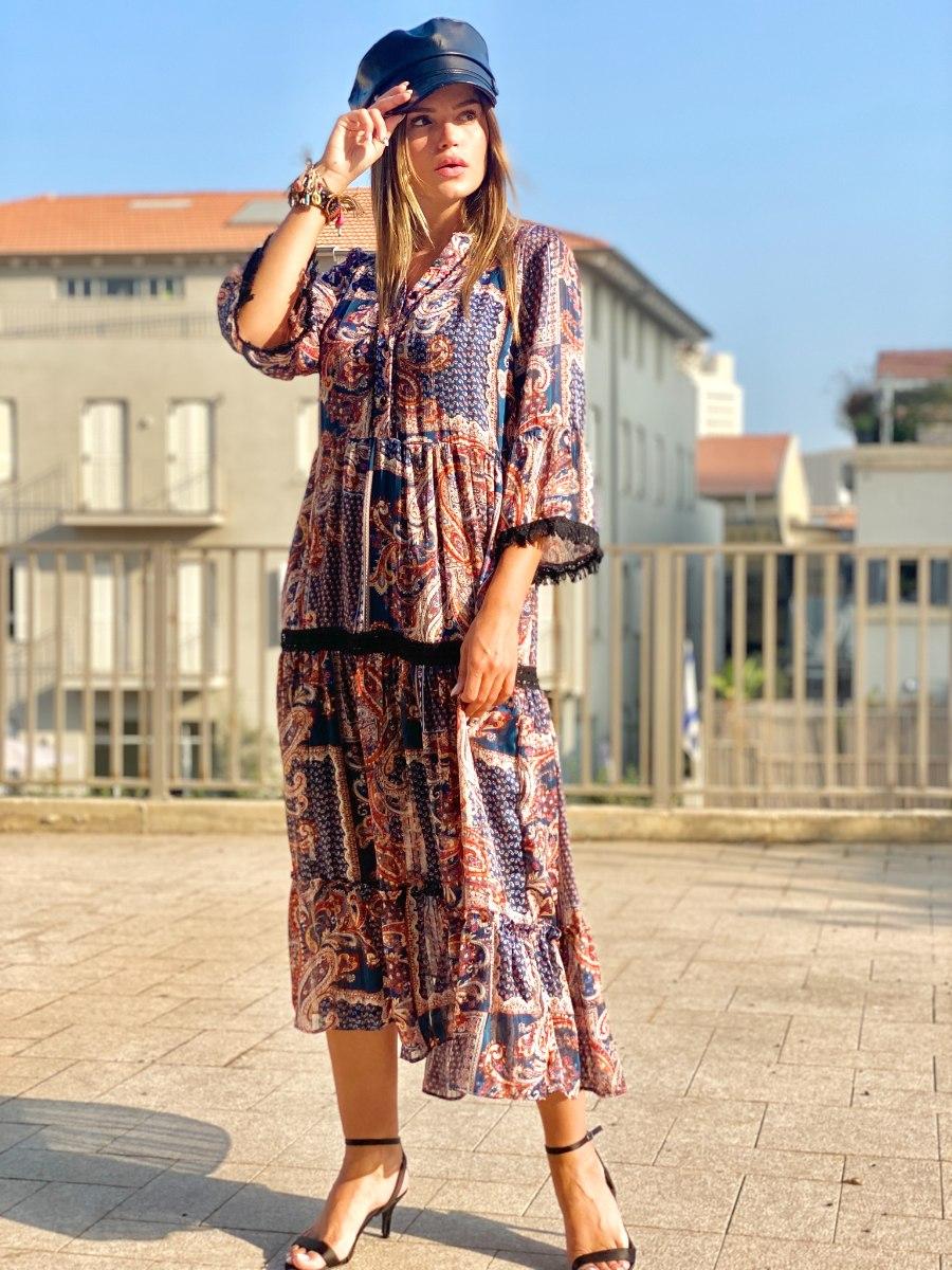 שמלת ליקה שילוב פס תחרה