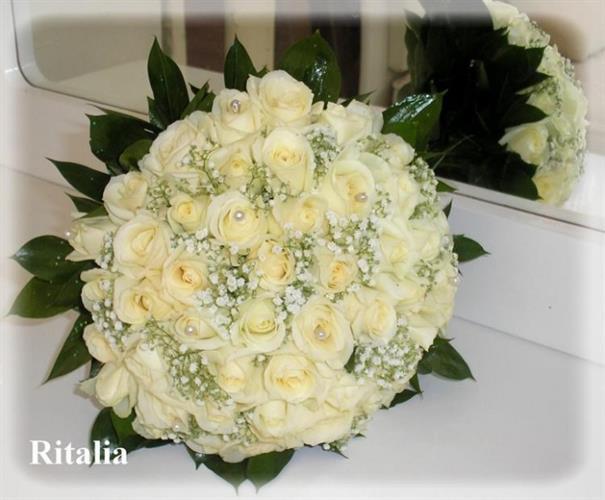 זר כלה ורדים לבנים-מקט 30